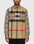 Burberry Patchwork Check Stretch Cotton Oversized Shirt Picutre