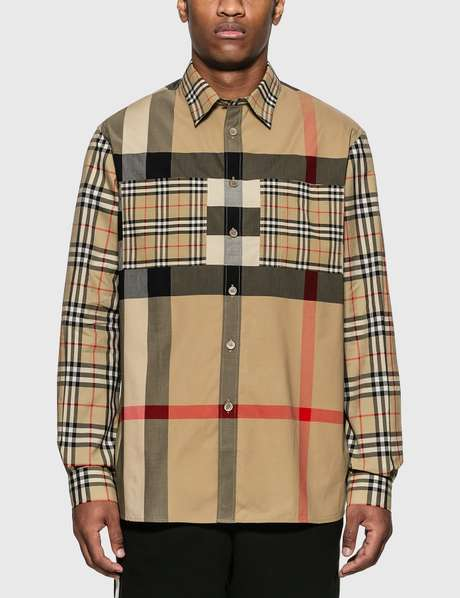 버버리 Burberry Patchwork Check Stretch Cotton Oversized Shirt