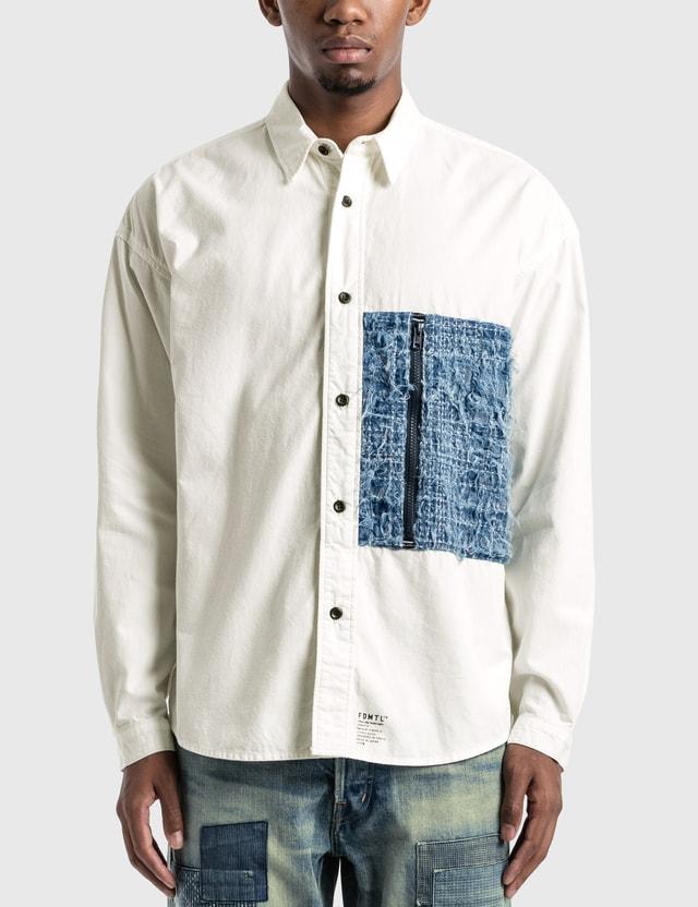 FDMTL Rinse Boro Zip Pocket Shirt White Men