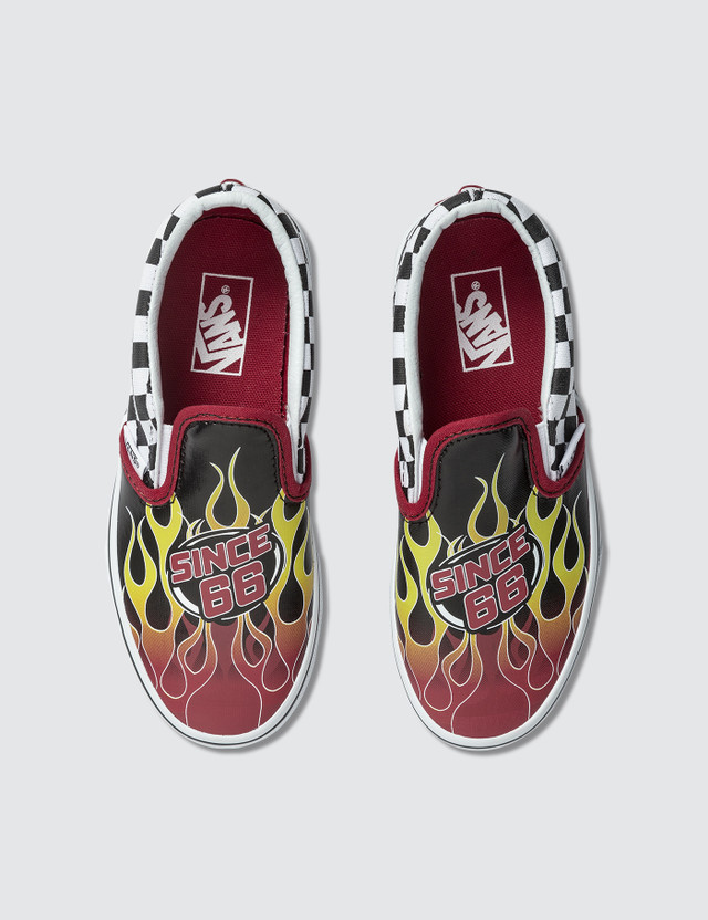 Vans Classic Slip-On Kids (racing Flame) Black/racing Red/true White Kids