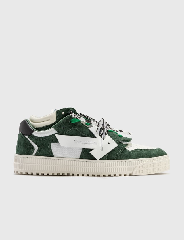 Off-White Suede Floating Arrow Sneakers White Green Men