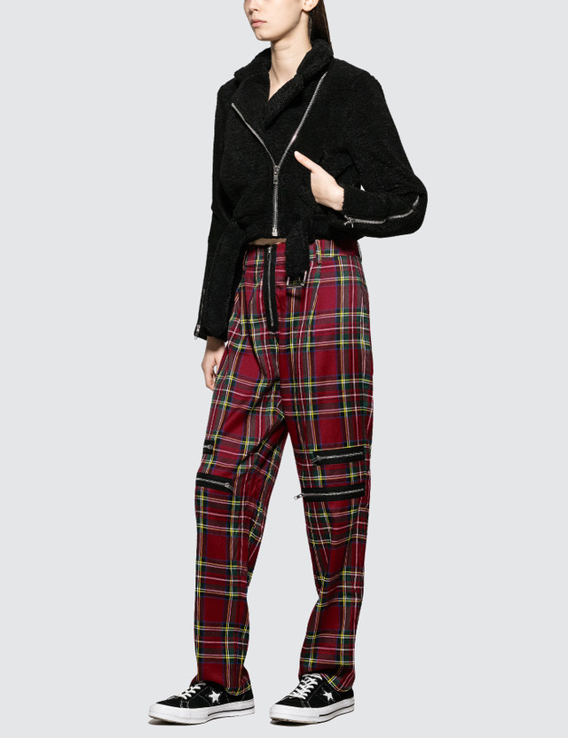 Danielle Guizio Plaid Zip Trousers