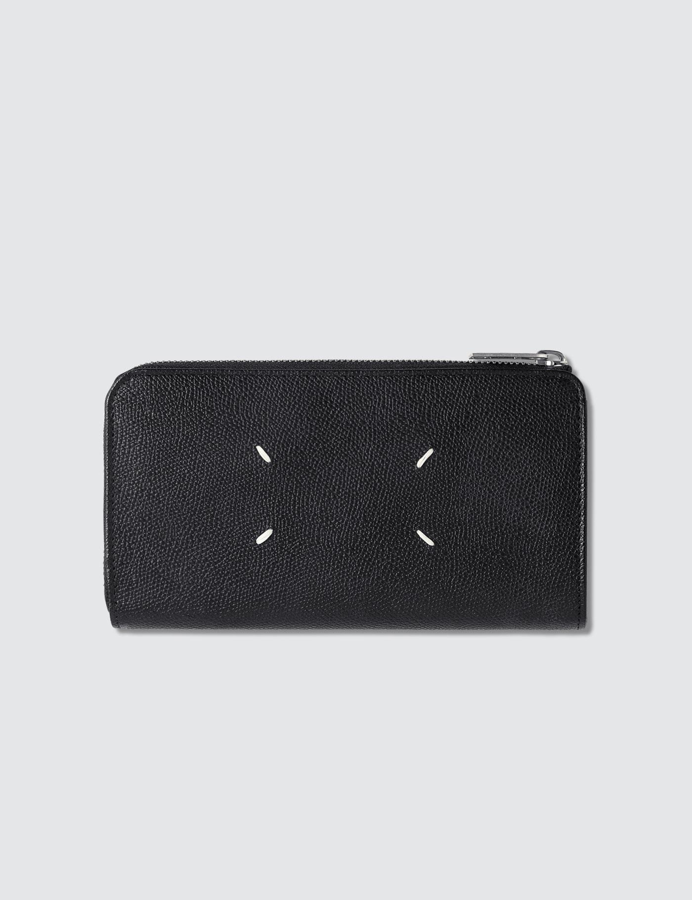 Grain Leather Zip Around Long Wallet
