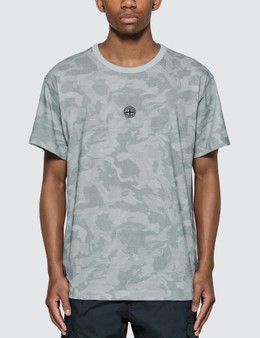 Stone Island Big Loom Camo T-shirt With Logo In Front (grey)