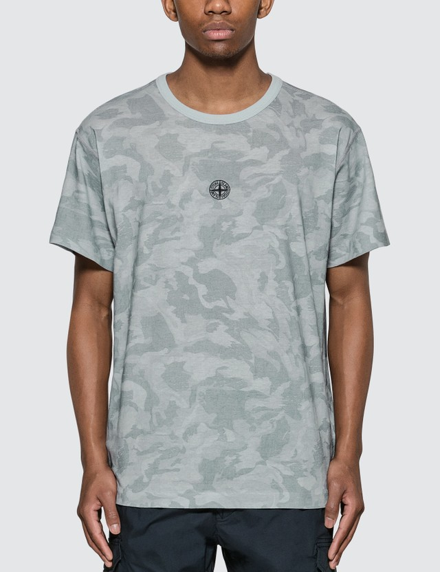 Stone Island Big Loom Camo T-shirt With Logo In Front (grey) T Shirt Cielo Men
