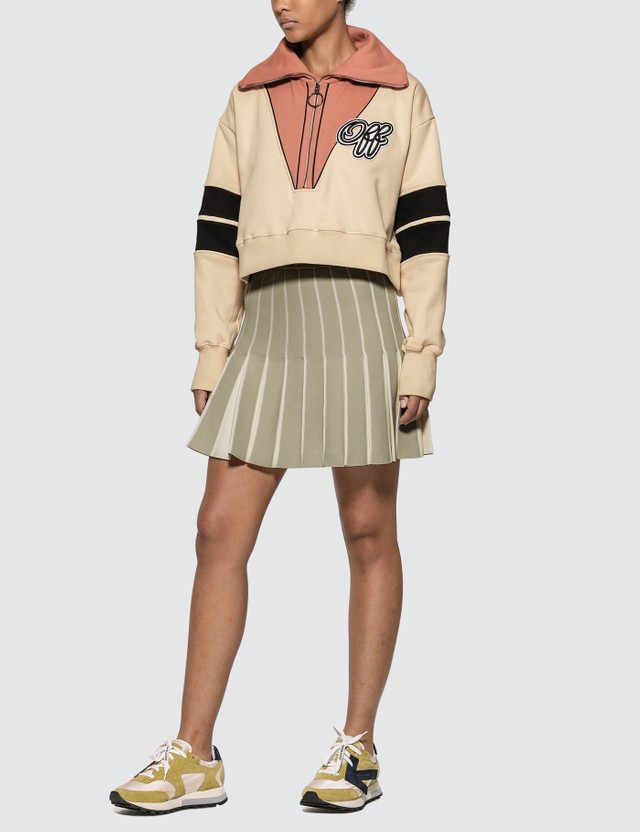 Off-White Intarsia Crop Sweatshirt