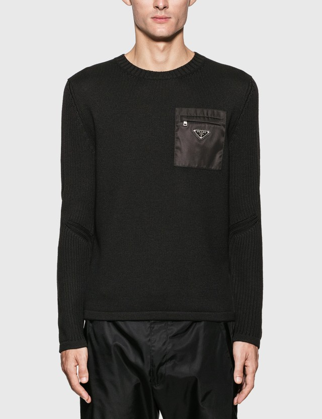 Prada Nylon Pocket Knit Sweater