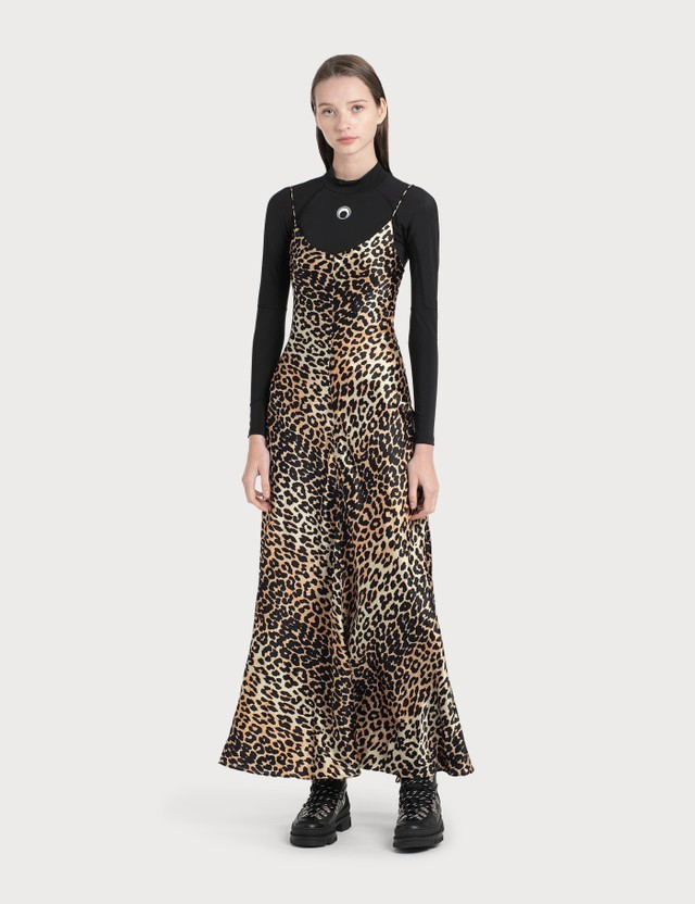 Ganni Silk Stretch Satin Slip Dress Leopard Women