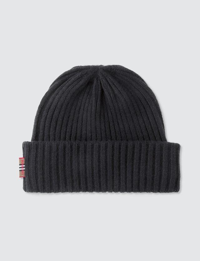 Burberry Icon Stripe Trim Rib Knit Cashmere Beanie