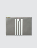 Thom Browne Pebble Grain and Calf Leather Small Zipper Tablet Holder (29.5 X 20cm) with Contrast 4 Bar Stripe Picture