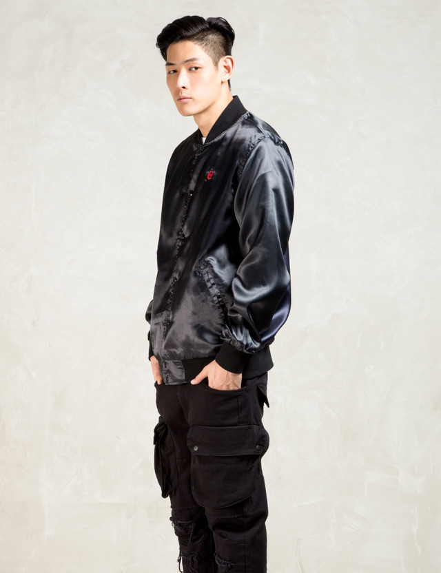 Huf Black Huf X Nagel Reversible Satin Bomber Jacket