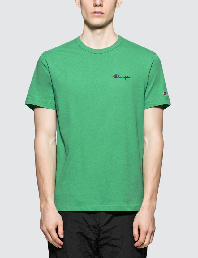 Champion Reverse Weave Small Script Logo S/S T-Shirt Green Men