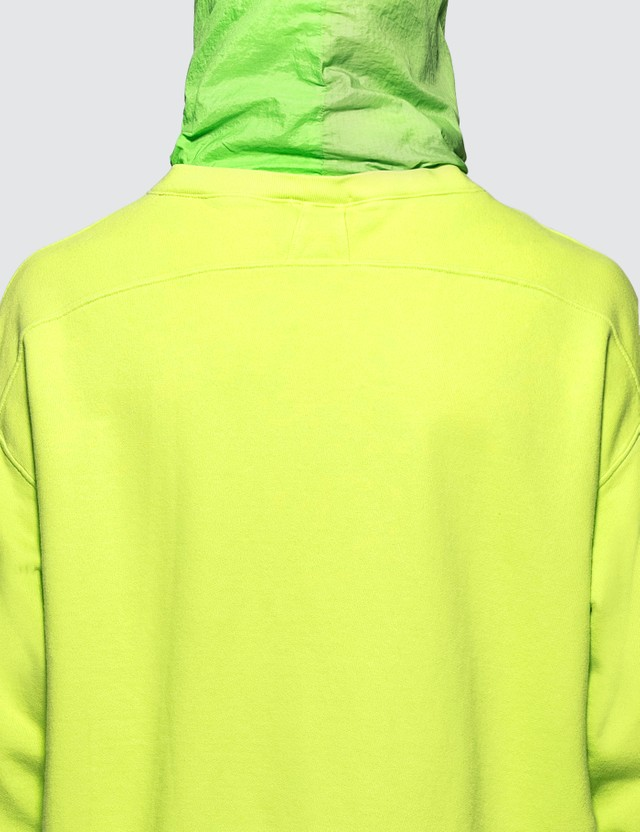 Rhude Layered French Terry Nylon Hoodie Neon Green Men