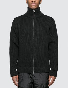 Maison Margiela Zip Up Heavy Knit Wool Cardigan