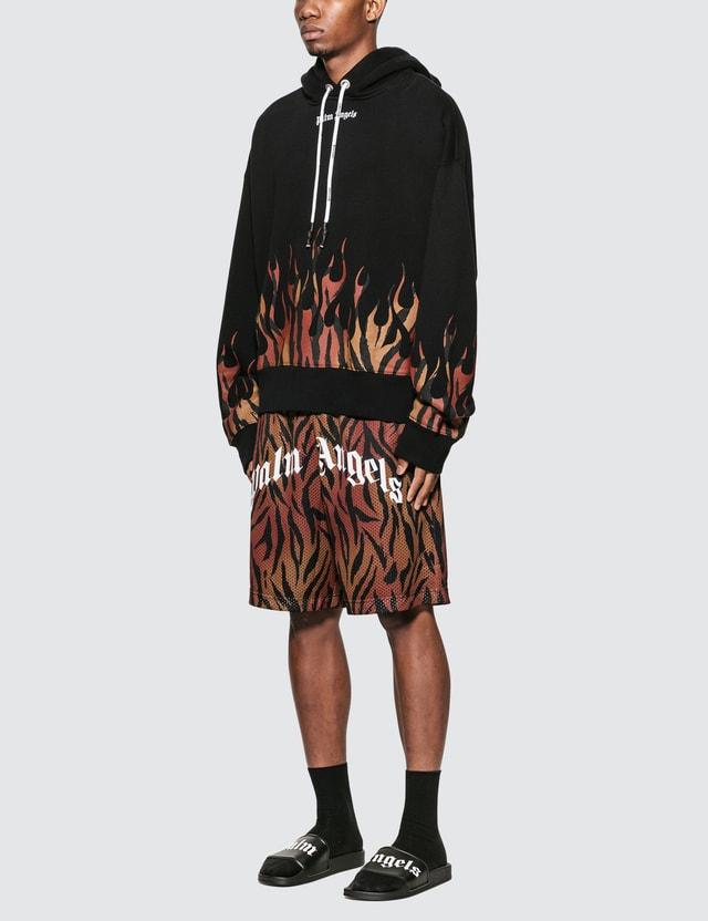 Palm Angels Tiger Flames Hoodie Black Orange Men
