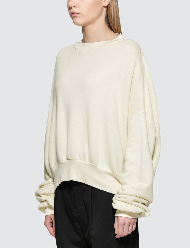 Unravel Project Terry Crewneck Open Back Sweatshirt