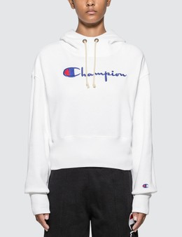 Champion Reverse Weave Big Script Cropped Hoodie