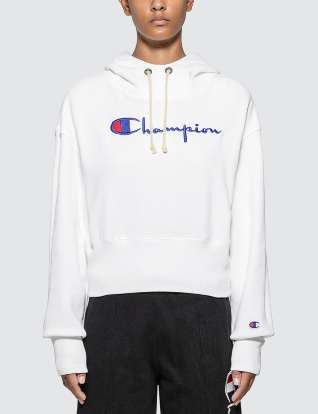 Champion Reverse Weave Big Script Cropped Hoodie White Women