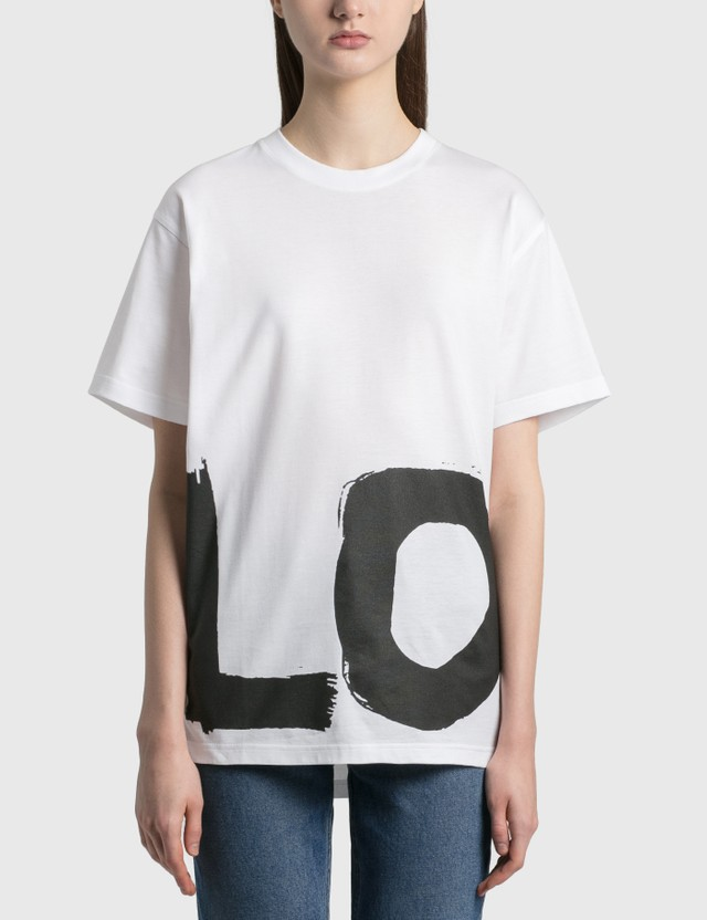 Burberry Love Print Cotton Oversized T-Shirt White Women