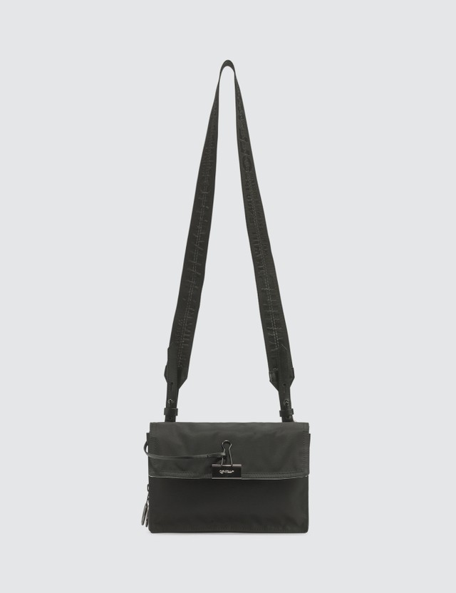 Off-White Nylon Zipped Flap Crossbody Bag