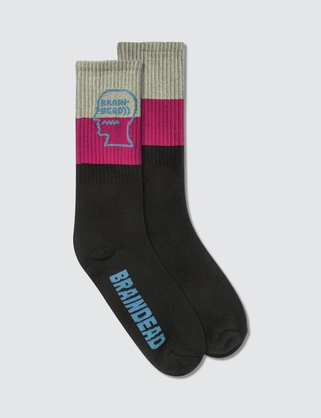 Brain Dead Striped Logo Socks