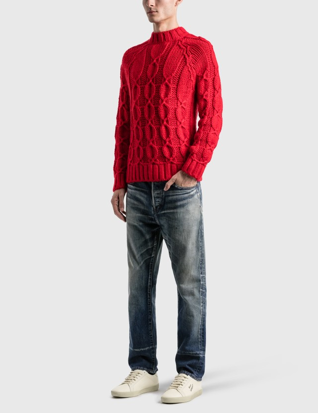Saint Laurent Cable-Knit Sweater In Wool And Mohair Rouge Men