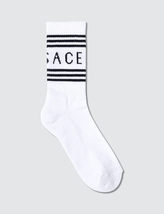 Versace Stripe And Logo Socks