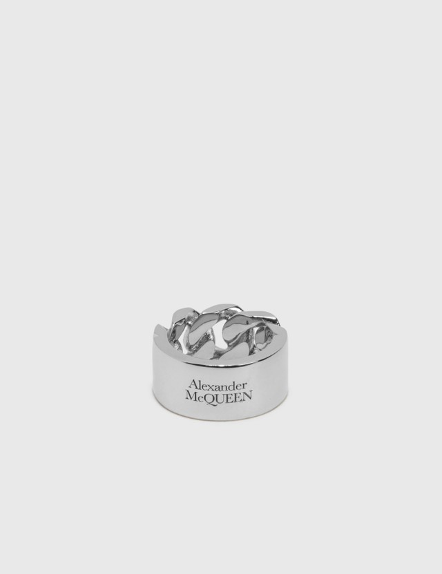 Alexander McQueen Chain Ring Silver Men