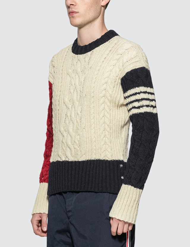 Thom Browne Cable Knit Crewneck Sweater