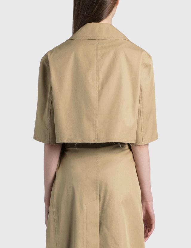 MM6 Maison Margiela Gabardine Cotton Cropped Trench Coat Beige Women
