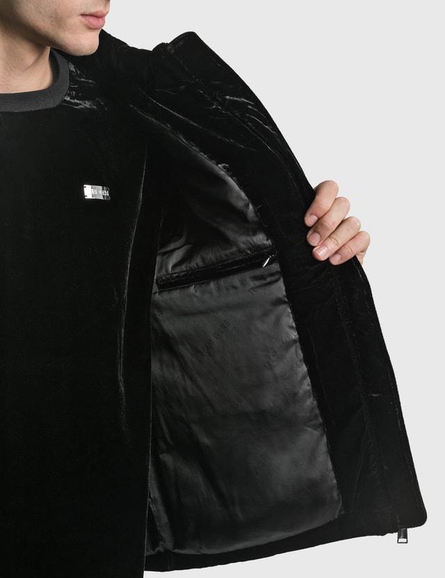 Team Wang Printed Logo Velvet Down Vest Black Men