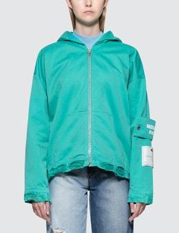 MSGM Devore' Solid Color Bull Denim Jacket