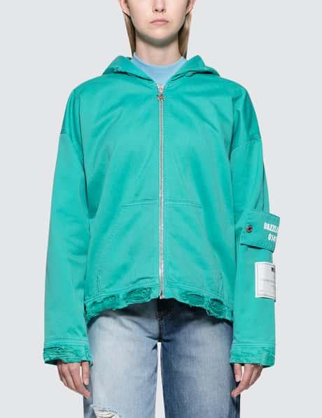MSGM Devore Solid Color Bull Denim Jacket
