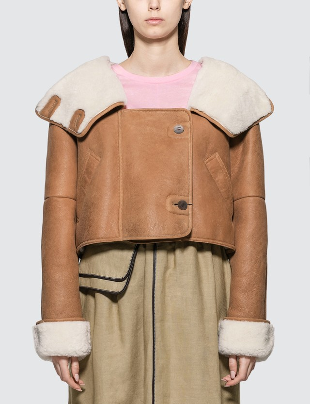 Loewe Crop Shearling Hooded Jacket
