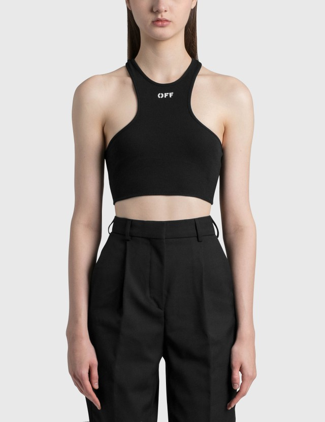 Off-White Ribbed Rowing Top Black Women