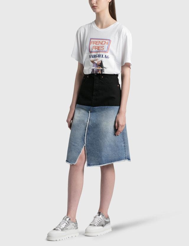 MM6 Maison Margiela Patched Denim Skirt Stone Vintage/black Women