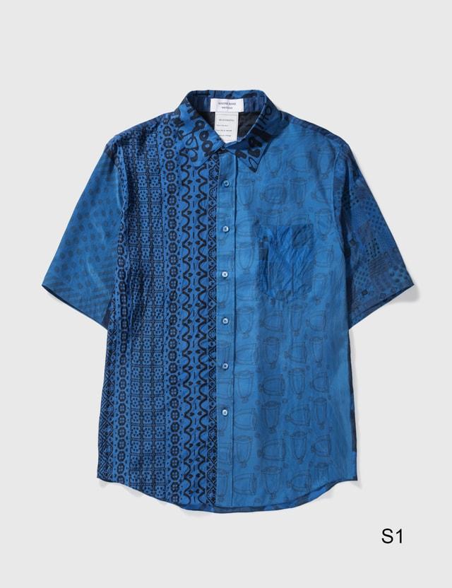Marine Serre Patchwork Silk Scarves Shirt 06 Cobalt Color Women
