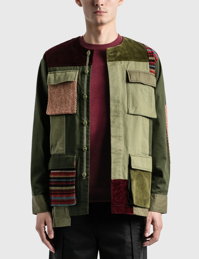 Maharishi Collarless Bdu Overshirt Olive/red Men