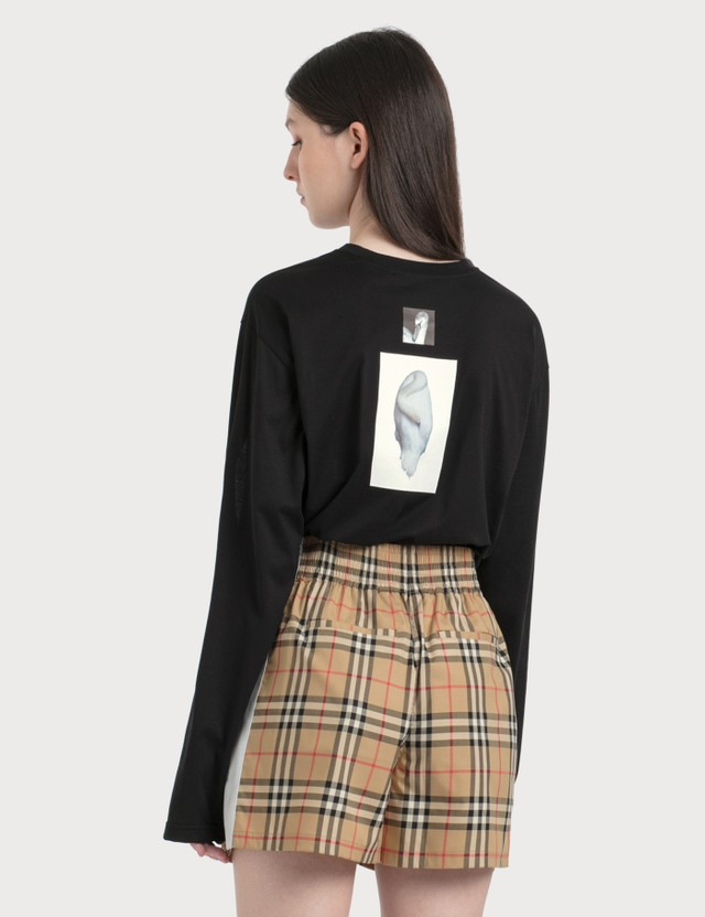 Burberry Cut-out Panel Swan Print Cotton Oversized Top Black Women