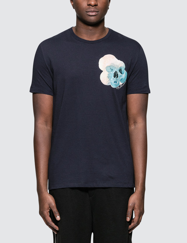Alexander McQueen S/S T-Shirt with Floral Skull Print On Left Chest