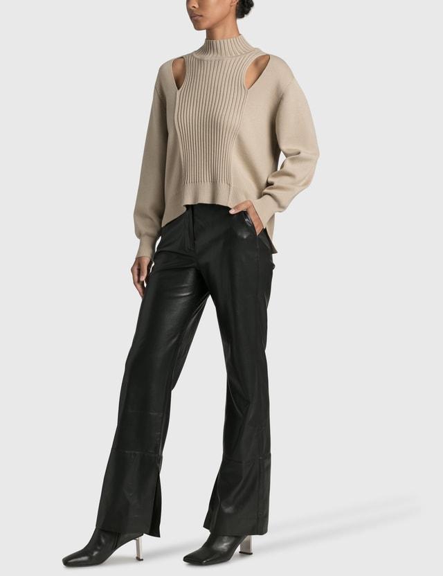 Jonathan Simkhai Yvette Recycled Knitwear Turtleneck Pullover Beige Women