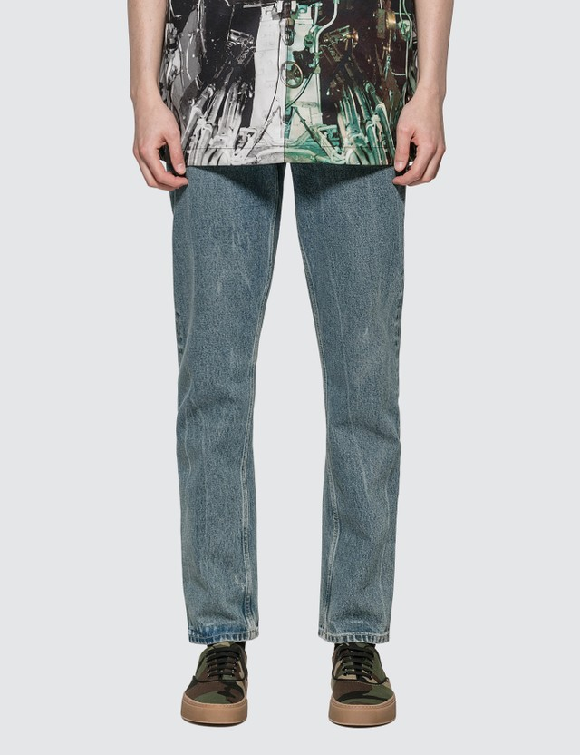 Burberry Straight Fit Distressed Denim Jeans