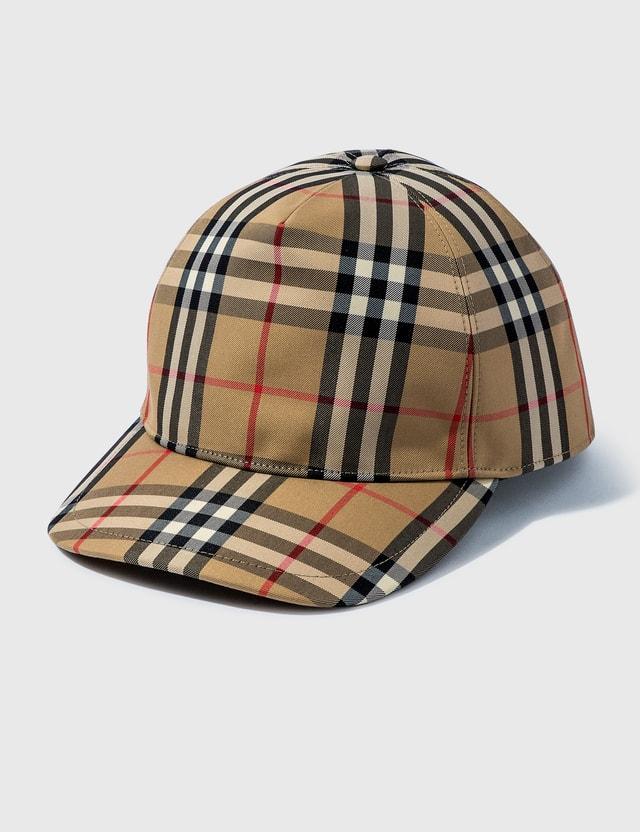 Burberry Logo Appliqué Vintage Check Baseball Cap Archive Beige Men