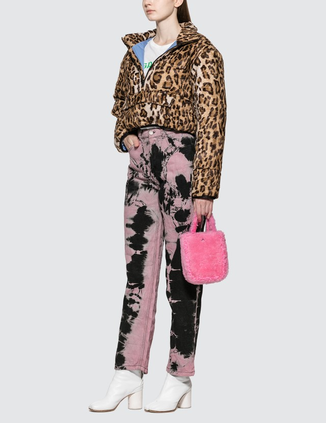 Ashley Williams Faux Leopard Fur Puffer Pullover Jacket
