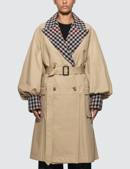 JW Anderson Trench Coat With Check Contrast