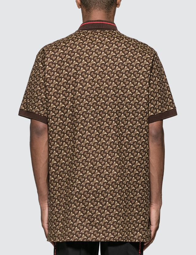Burberry Monogram Stripe Print Cotton Piqué Polo Shirt Bridle Brown Ip Pttn Men