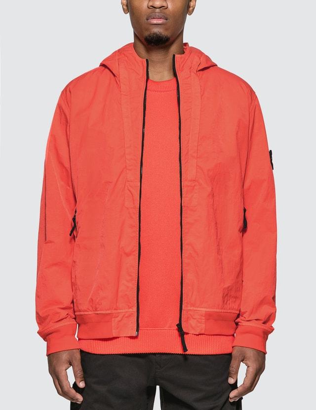 Stone Island 타이트 우븐 나일론 트윌-TC 재킷 Orange Red Men
