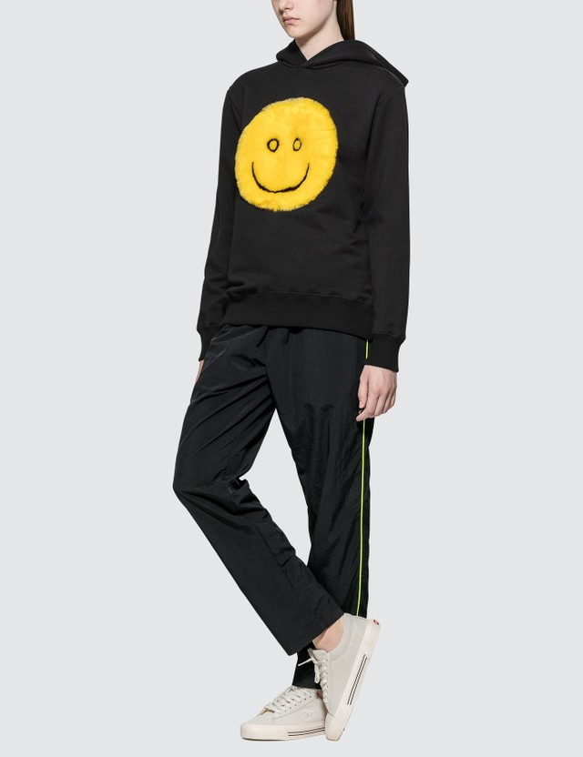Kirin Fur Smile Hoodie Black Yellow Women