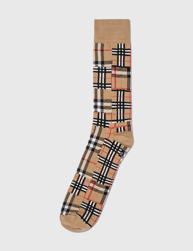 Burberry Patchwork Check Socks Archive Beige Men