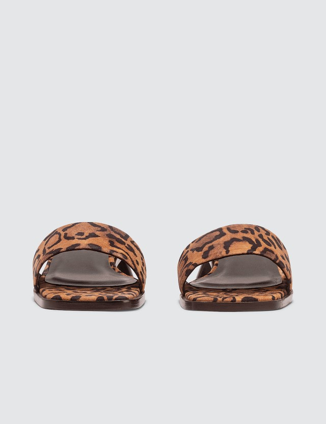 BY FAR Sonia Leopard Print Suede Leather Sandals